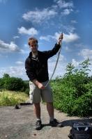 Odchycená Zamenis longissimus u Devínského jazera.