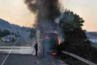 A burning bus near Sofia