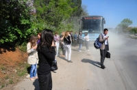 Náš hořící autobus u Staré Zagory