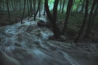 Rozvodněný přítok Strumy u Sandanski